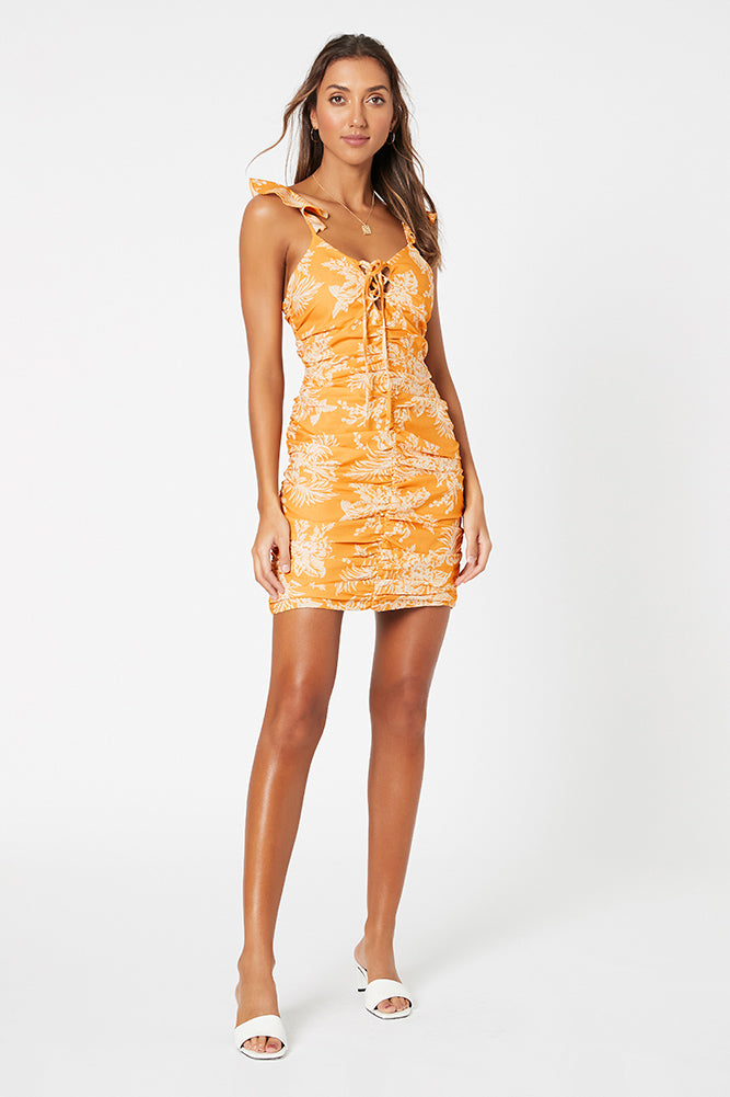 Sunset Dreams Mini Dress, Marigold