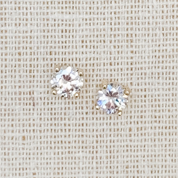 Cubic Zirconia Stud Earrings, Gold