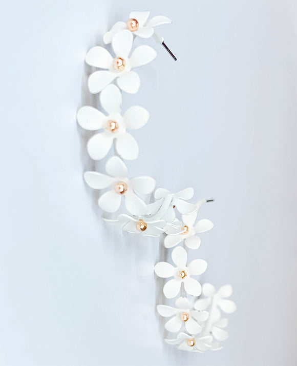 Flower Hoop Earrings, White