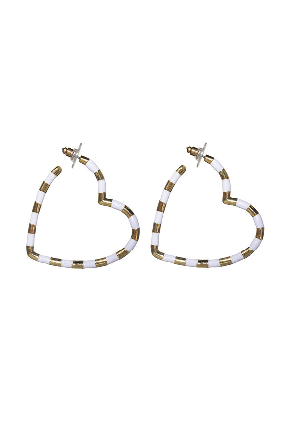 Heart Hoops, White/Gold
