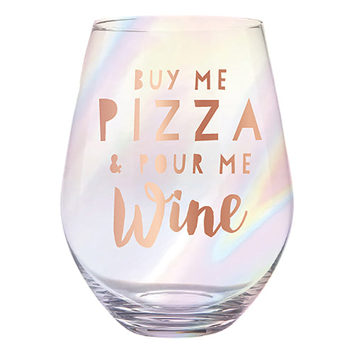Buy Me Pizza Jumbo Wine Glass