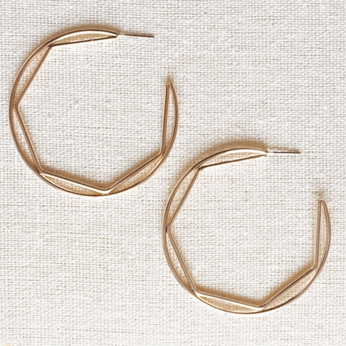 Geo Hoop Earrings, Rose Gold