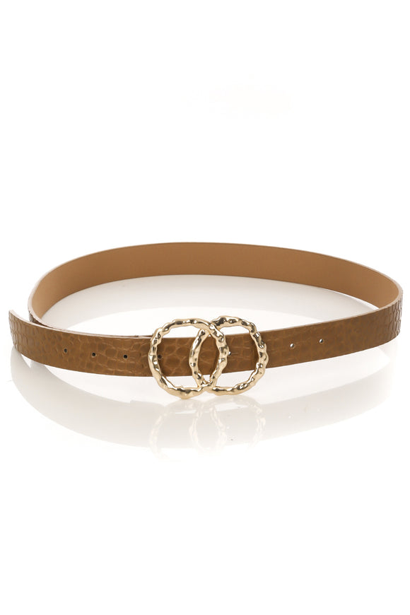 CIRCLE LINK BUCKLE FAUX LEATHER BELT, BROWN