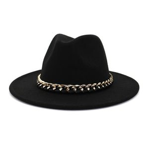 Felt Hat with Gold Chain, Black