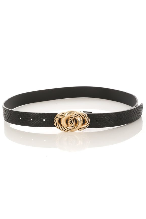 SNAKESKIN PRINT CIRCLE BUCKLE BELT, BLACK