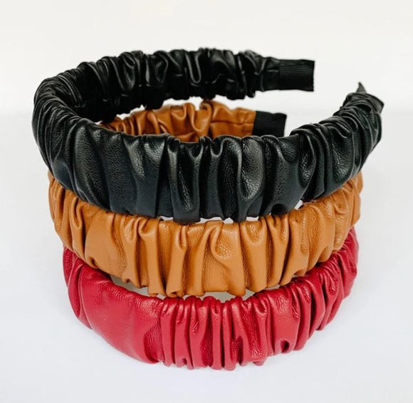 Ruched Faux Leather Headband