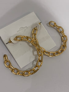 Chain Link Hoop Earrings, Gold