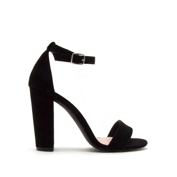 Ankle Strap Block Heel, Black