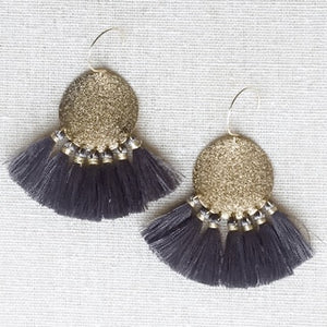 Gold Coin with Tassel Earrings (Black, Grey, Ivory)