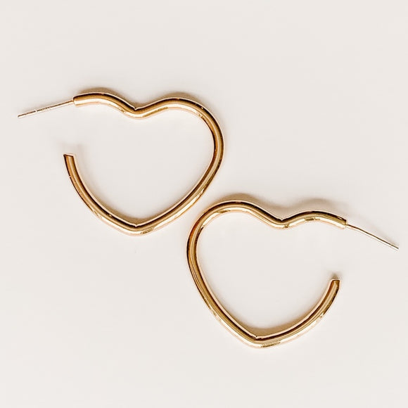 Heart Hoop Earrings, Gold