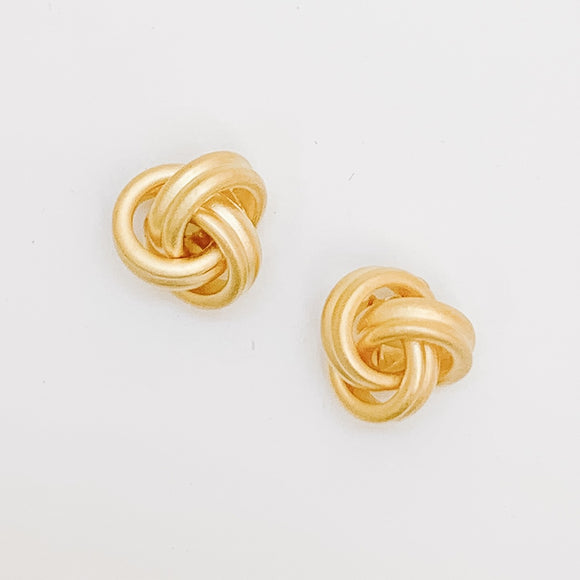 Matte Knot Stud Earrings, Gold