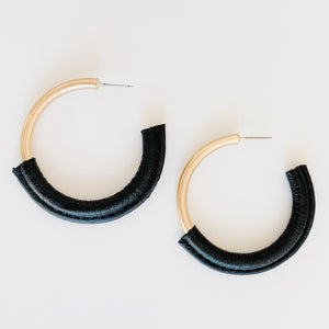 Leather Hoop Earrings, Black/Gold