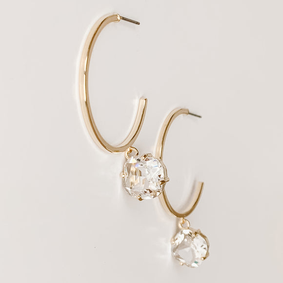 Hoop Earrings w/ Stone Dangle, Clear