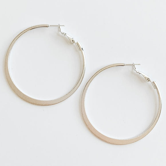 Brushed Hoop Earrings, Silver