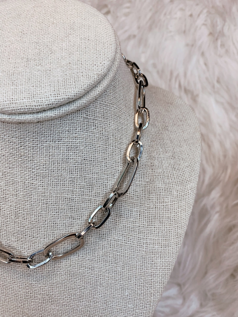 Large Chain Link Necklace, Silver