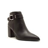 Pointed Toe Bootie with Buckle, Black