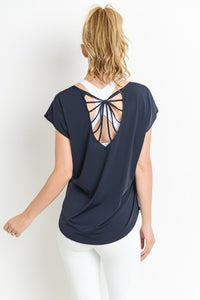 Strappy Back Active TShirt- Multiple Colors