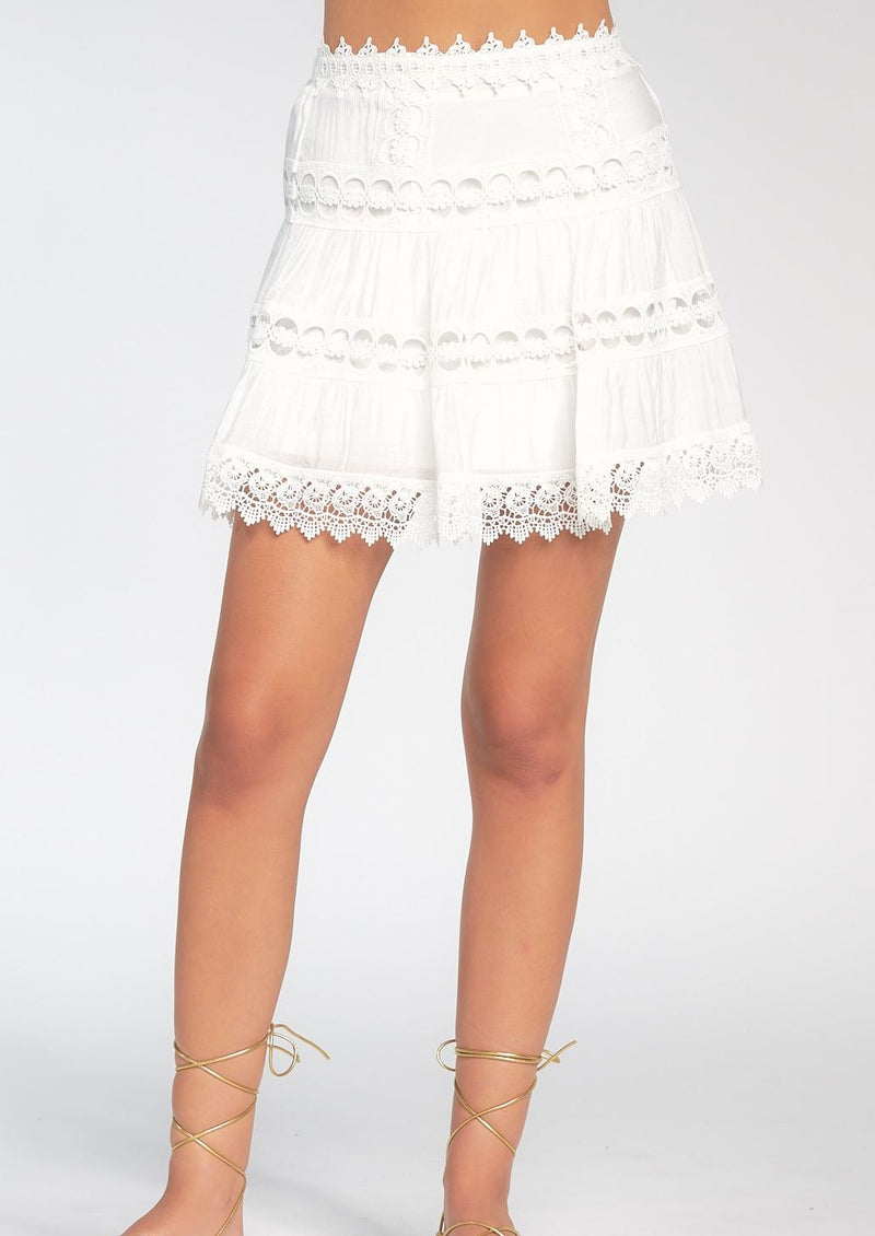 Lace Mini Skirt, White