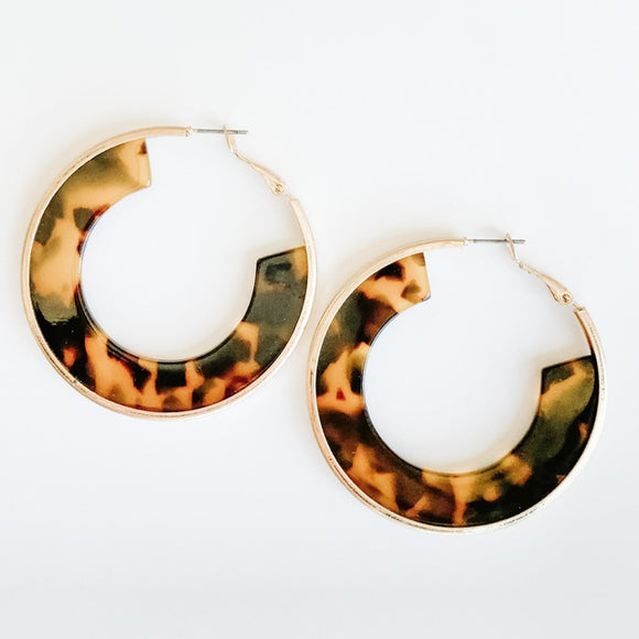 Resin Hoop Earrings, Gold/Brown
