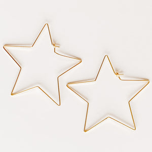 Star Hoop Earrings, Gold
