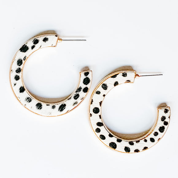 Animal Print Hoop Earrings, Black/White