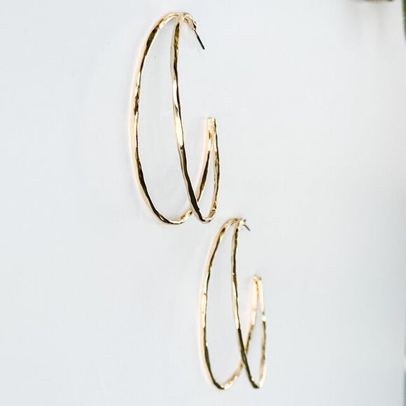 Double Hoop Earrings, Gold