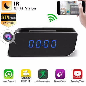 Alarm Clock with Hidden 1080P camera and wifi connect. Security Motion Detection