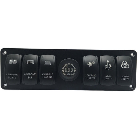 Thunder and Lighting - 6 laser etched rocker switch panel volt meter
