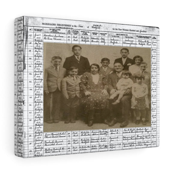 Cerretani Family Photo & 1914 Wakefield MA Marriage Registery Canvas