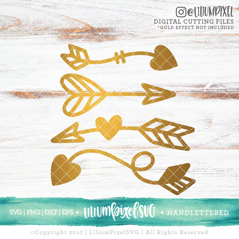 Love Arrow Set - SVG PNG DXF EPS Cut File • Silhouette • Cricut • More