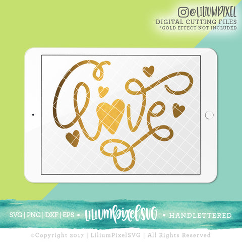 Love Flourish with Heart - SVG PNG DXF EPS Cut File • Silhouette • Cricut • More