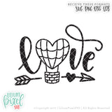 Love Hot Air Balloon - SVG PNG DXF EPS Cut File • Silhouette • Cricut • More