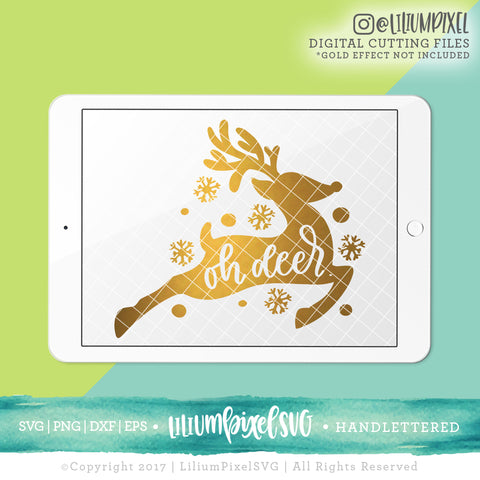 Oh Deer Snowflake - SVG PNG DXF EPS Cut File • Silhouette • Cricut • More
