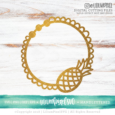Pineapple Doily Monogram Frame  - SVG PNG DXF EPS Cut File • Silhouette • Cricut • More
