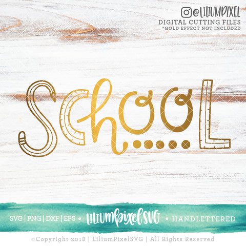 School Handdrawn - SVG PNG DXF EPS Cut File • Silhouette • Cricut • More