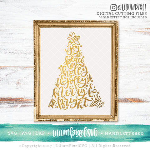 Christmas Tree Words - SVG PNG DXF EPS Cut File • Silhouette • Cricut • More