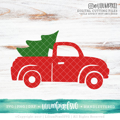 Christmas Tree Truck - SVG PNG DXF EPS Cut File • Silhouette • Cricut • More