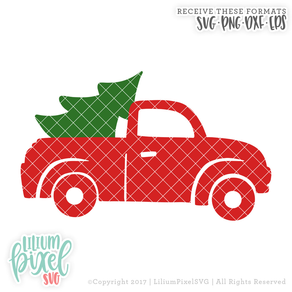 Christmas Truck Svg.Christmas Tree Truck Svg Png Dxf Eps Cut File Silhouette Cricut More