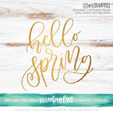 Hello Spring - SVG PNG DXF EPS Cut File • Silhouette • Cricut • More
