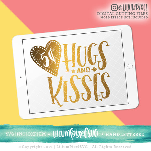 5c Hugs and Kisses - SVG PNG DXF EPS Cut File • Silhouette • Cricut • More