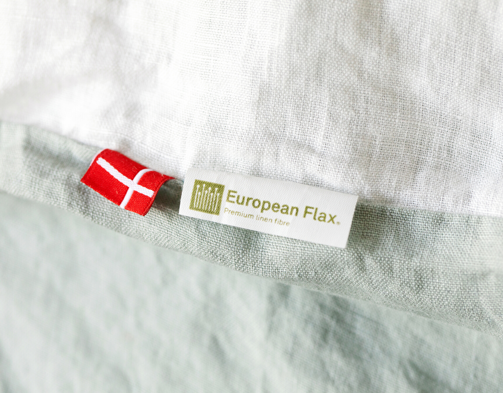 Organic European flax linen duvet cover with certificate tag and Danish flag