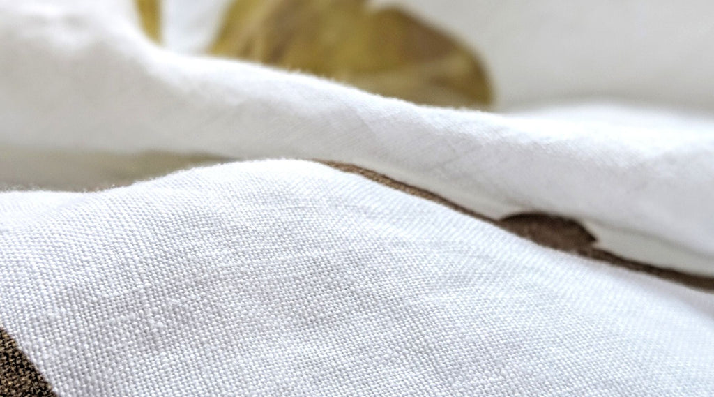 Closeup of thread count in linen duvet cover
