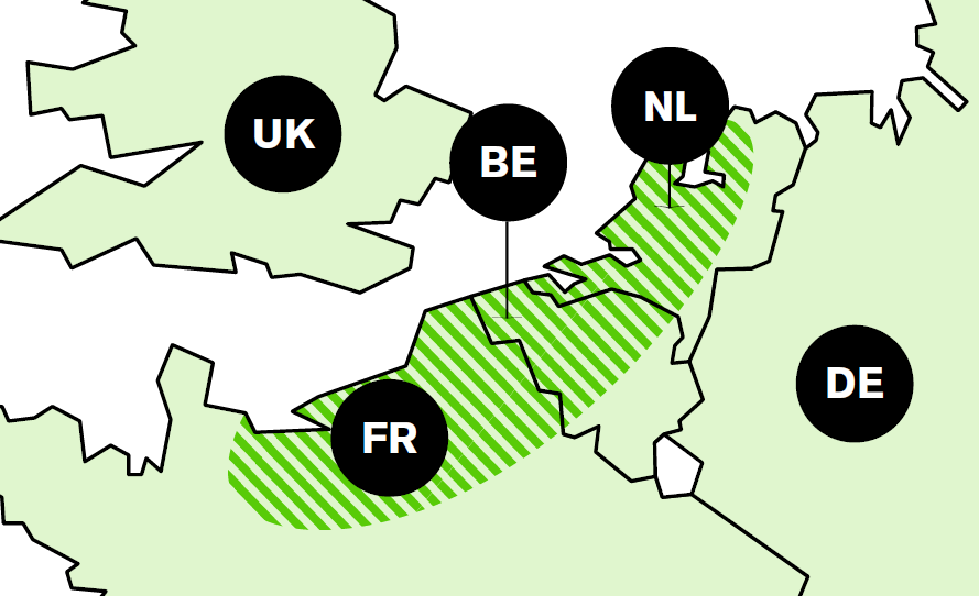 The ideal zone for growing flax in Belgium, France, and Holland