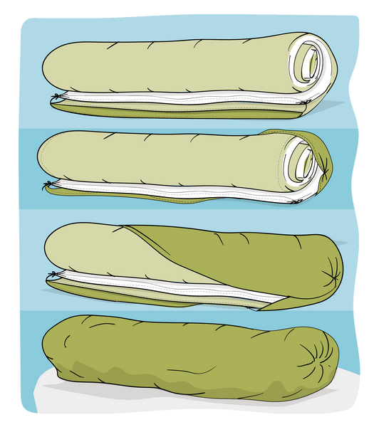 Take the opening of the duvet cover and pull it right side out and around the roll. Fasten to create the burrito