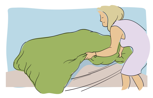 To straighten and fluff the duvet, give the whole thing a shake, holding it from the corners and edges when you do so
