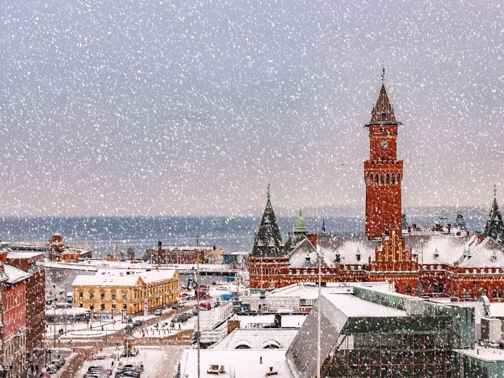 View of Copenhagen on a snowy day