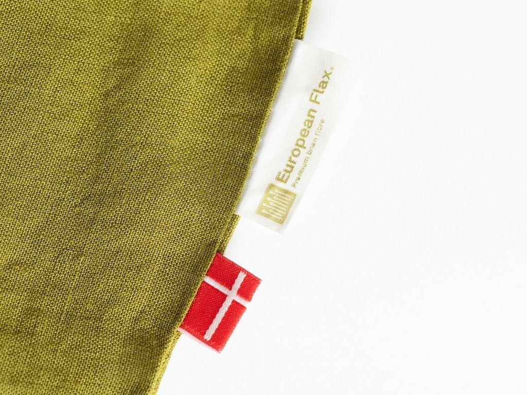 Olive green linen duvet cover from Organic European flax with Danish flag and certification