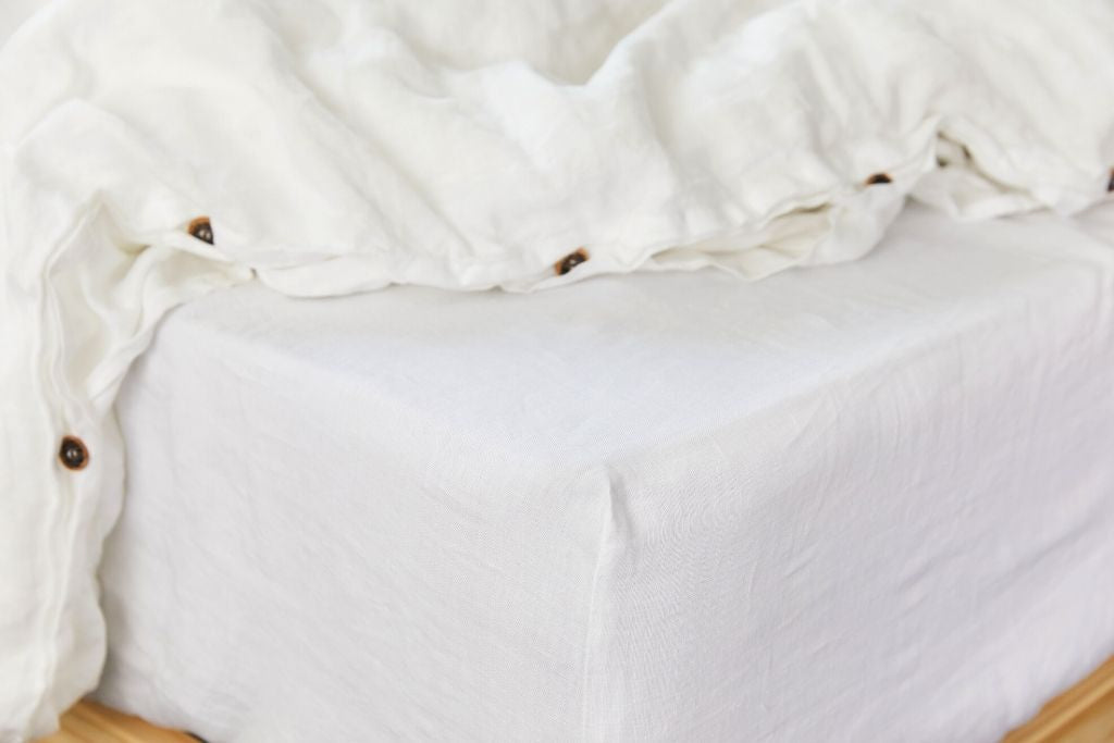 White linen duvet cover set from organic European flax