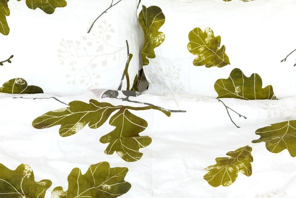 Organic European linen duvet cover set in modern Scandinavian design with oak leaves design