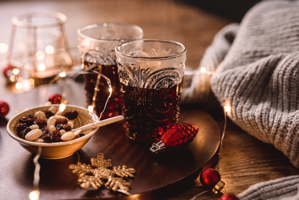 Christmas decorations and glögg mulled wine stock photo